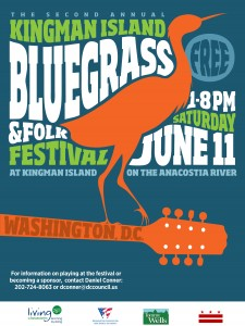 Poster for The Bluegrass & Folk Festival which takes place on Kingman Island