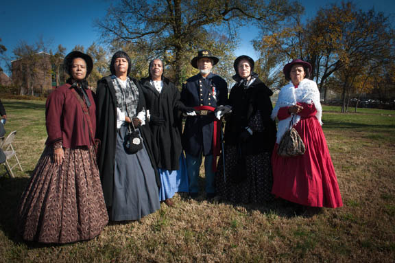 Members of FREED (Female Reenactors of Distinction of the American Civil War): Judy Williams, Joyce Bailey, Helen Hassell, Asa Gordon, Carol Gordon, and Shirley Holmes pose for a portrait before the commencement of the Veterans Remembrance Ceremony at Saint Elizabeths Hospital East Campus. Photo by Susana Raab/Anacostia Community Museum/Smithsonian Institution