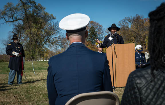 Dr. Frank Smith, Director of the African American Civil War Museum delivers the keynote address at the Veterans Remembrance Ceremony at Saint Elizabeths Hospital East Campus. Photo by Susana Raab/Anacostia Community Museum/Smithsonian Institution