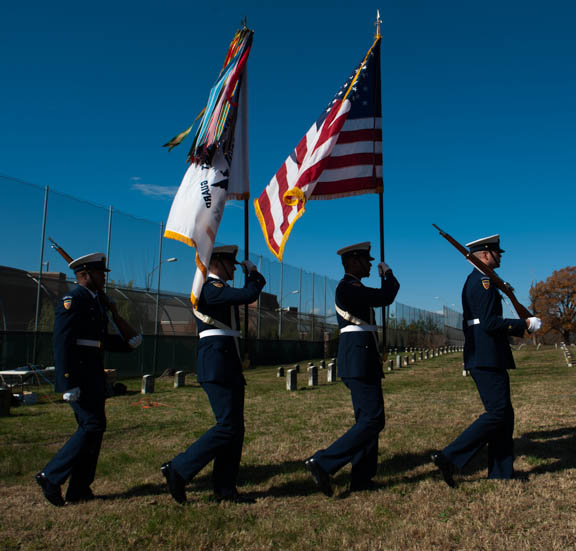 The Coast Guard Color Guard posts during the Veterans Remembrance Ceremony at Saint Elizabeths Hospital East Campus. Photo by Susana Raab/Anacostia Community Museum/Smithsonian Institution