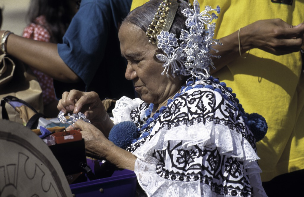 A woman in a pollera and tembleques at a Latin American Festival in Washington, D.C. Anacostia Community Museum Black Mosaic archives. Photographer: Harold Dorwin