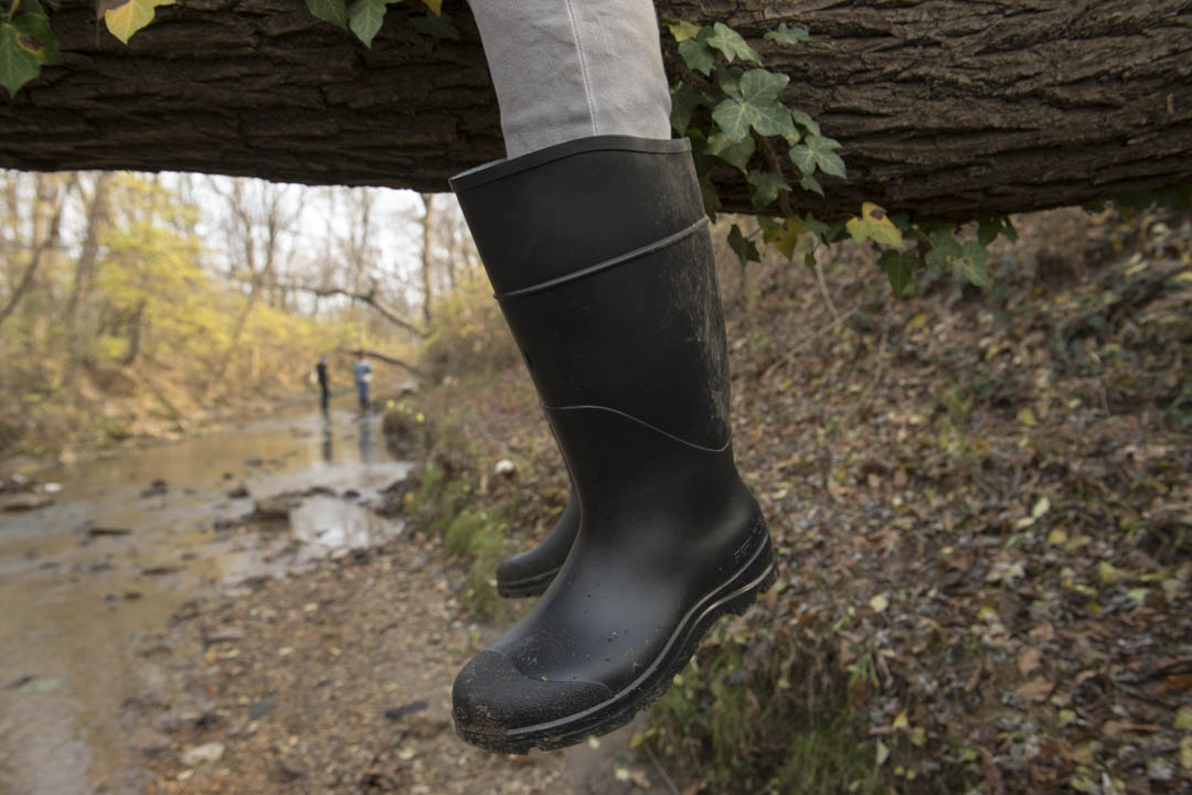 Wading boots were mandatory during this early December visit to the Lower Beaverdam Creek. Photo by Susana Raab/Anacostia Community Museum/Smithsonian Institution