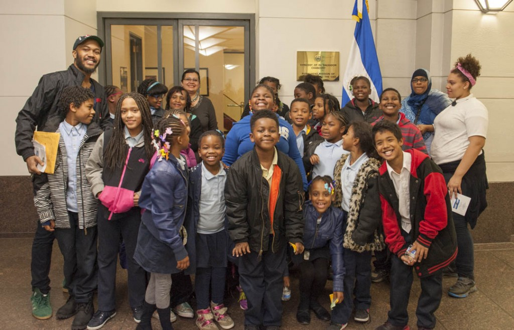 The students of Anacostia Community Museum Museum Academy pose outside the El Salvadoran Embassy in Washington, DC.  Photo by Susana Raab/Anacostia Community Museum