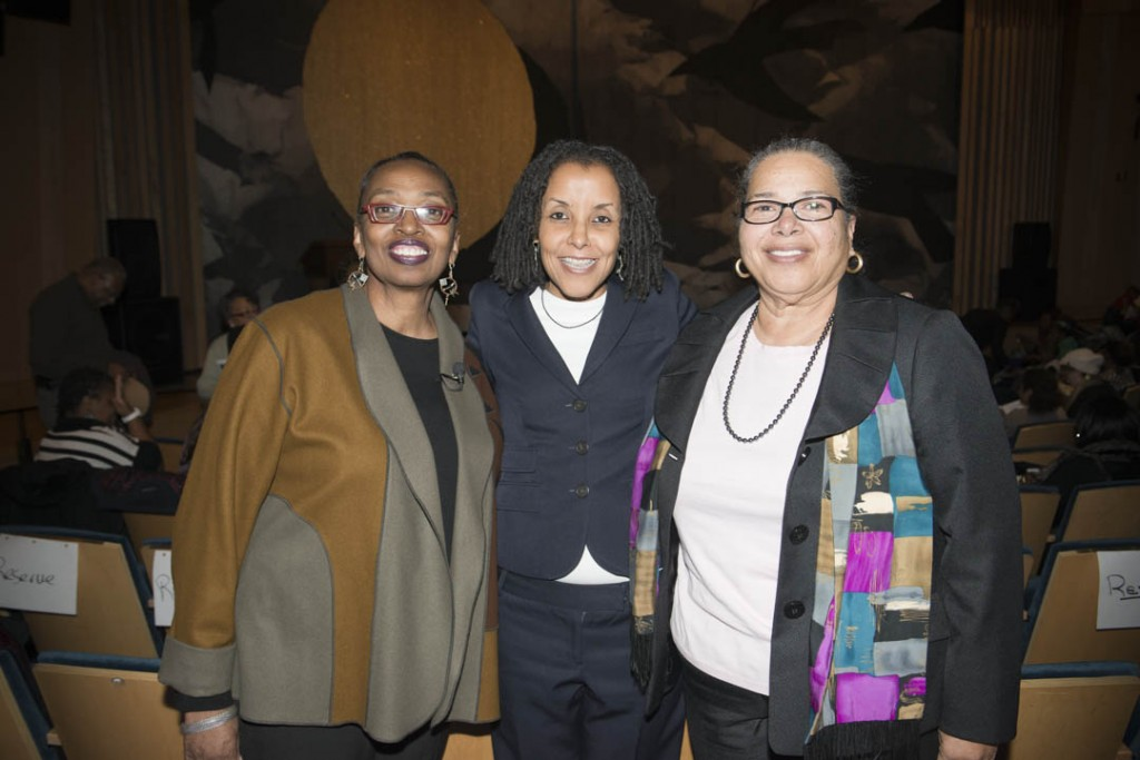 January 16, 2015 - Smithsonian Undersecretary for Education Claudine Brown poses for a photograph with keynote speaker Kica Matos, Director of Immigrant Rigths and Racial Justice at the Center for Community Change, and Anacostia Community Museum Director Camille Akeju before the start of the 30th annual Martin Luther King Jr. program.