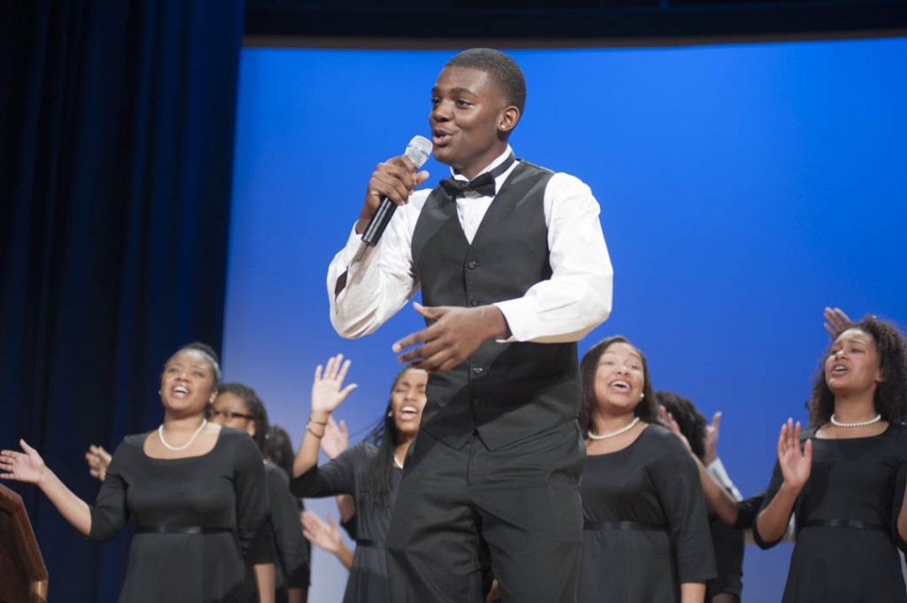 "January 16, 2015-The Washington Performing Arts' Children of the Gospel Choir perform ""I Know I'm Going to Make It"" at the Anacostia Community Museum 30th Annual Martin Luther King Jr. Program at the Rasmuson Theater at the National Museum of the American Indian. Here, Norman Hudgins sings solo."