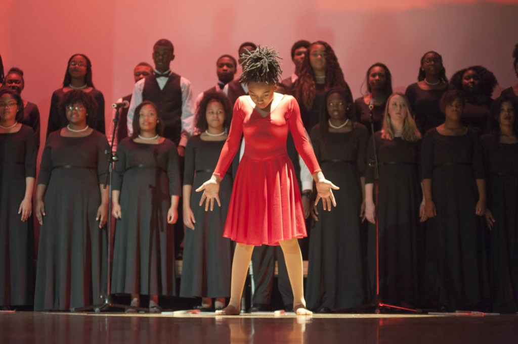 "January 16, 2015- A performance of ""I Know Where I've Been"" from the musical Hairspray with the Washington Performing Arts' Children of the Gospel Choir and the Alfred Kiger Savoy Plaers in collaboration with the DC Youth Ensemble entertained the audience at the Anacostia Community Museum's 30th annual Martin King Luther Jr. Program."