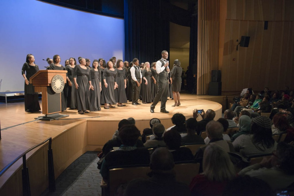 "January 16, 2015-The Washington Performing Arts' Children of the Gospel Choir perform ""I Know I'm Going to Make It"" at the Anacostia Community Museum 30th Annual Martin Luther King Jr. Program at the Rasmuson Theater at the National Museum of the American Indian. Here, Norman Hudgins sings solo.  Susana Raab/Anacostia Community Museum/Smithsonian Institution"