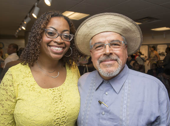 "April 12, 2015 - Anacostia Community Museum Curator Ariana Curtis, Ph.D., with Smithsonian Latino Center Director Eduardo Dîaz during the opening of the exhibit, ""Bridging the Americas"" in the Anacostia Community Museum program room curated by Dr. Ariana Curtis. Photo by Susana Raab/Anacostia Community Museum/Smithsonian Institution"