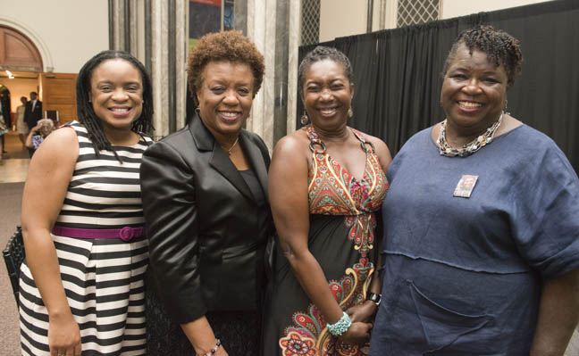 June 12, 2015 - Advisory board member Donna Gambril (far left) poses with friends at the  Anacostia Community Museum annual soiree held at the Smithsonian Castle on the Mall. Photo by Susana Raab/Anacostia Community Museum/Smithsonian Institution the Anacostia Community Museum annual soiree held at the Smithsonian Castle on the Mall. Photo by Susana Raab/Anacostia Community Museum/Smithsonian Institution