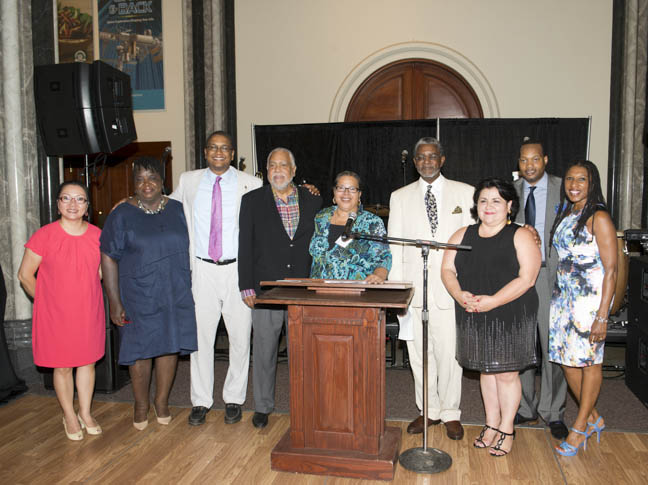 June 12, 2015 -Director Camille Akeju with the members of the ACM Advisory Board:  HyeSook Chung,  Barbara Gambrell, Mossi K. Tull, Arrington Dixon, Director Camille Akeju, Larry Frazier, Alma Candelaria, Bennie Johnson and Tonya Kinlow at the Anacostia Community Museum annual soiree held at the Smithsonian Castle on the Mall. Photo by Susana Raab/Anacostia Community Museum/Smithsonian Institution