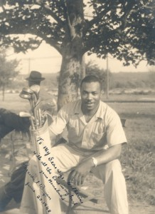 Percival Bryant poses with golf clubs in 1948. Percival Bryant Collection, Smithsonian Anacostia Community Museum Archives