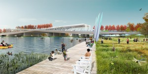 From the 11st Street Bridge Park Project; Anacostia Crossing; BOARDWALK AND DOCKS Rendering courtesy of OMA+OLIN
