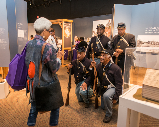 Members of the Massachusetts 54th Voluntary Infantry Regiment B were on hand to provide some context to the exhibit Washington during the Civil War.