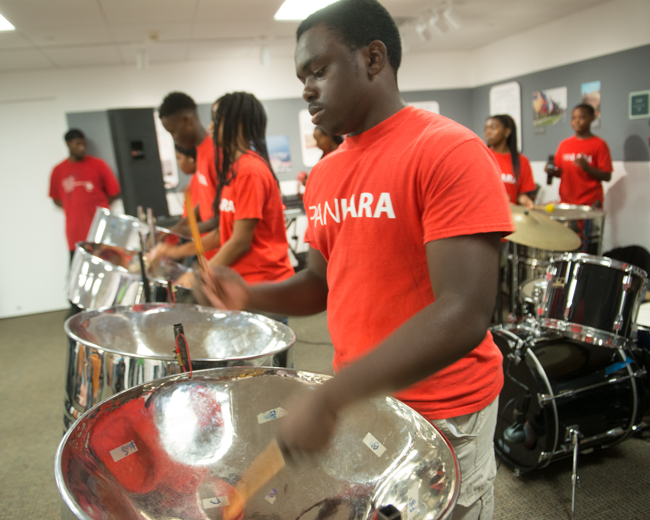 Pan Lara steel drummers livened up the program midday.