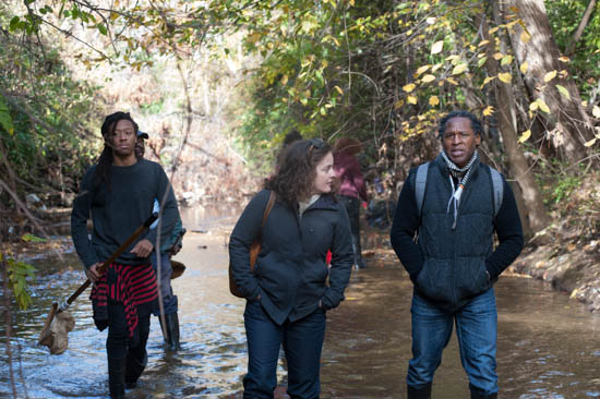 October 31, 2015- Citizen Scientist alum Zee Wright walks with Howard Professors Tracy Perkins and Vernon Morris during an outing to a tributary of the Anacostia Watershed near Kennilworth Park in support of the Anacostia Community Museum's Citizen Scientist Program which received support from State Farm. Susana Raab/Anacostia Community Museum/Smithsonian Institution