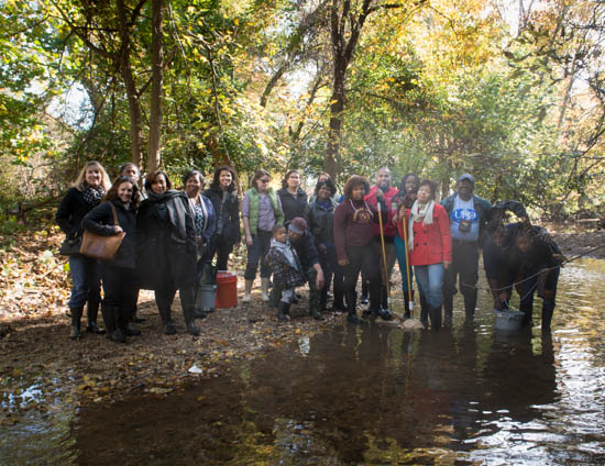 October 31, 2015- A group shot of the supporters and Citizen Scientists after an outing to a tributary of the Anacostia Watershed near Kennilworth Park in support of the Anacostia Community Museum's Citizen Scientist Program which received support from State Farm. Susana Raab/Anacostia Community Museum/Smithsonian Institution