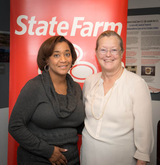 October 31, 2015- State Farm Representative Angela Rosser poses with Anacostia Community Museum Deputy Director Sharon Reinckens during a ceremony honoring State Farm's Youth Advisory Board's funding of the Anacostia Community Museum Citizen Scientist Program. Susana Raab/Anacostia Community Museum/Smithsonian Institution