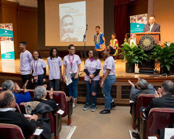January 15, 2016 - Members of the Anacostia Museum Youth Advisory Board and Museum Academy present themselves before the audience at the Anacostia Community Museum 2016 Martin Luther King Jr. Celebration event. Photo by Susana Raab/Anacostia Community Museum/Smithsonian Institution