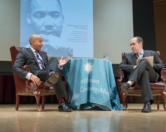 January 15, 2016 - Dr. Khalil Gibran Muhammad and DC Public LIbrary Executive Director Richard Reyes-Gavilan answered questions from the audience at the 2016 Martin Luther King Jr Celebration event. Photo by Susana Raab/Anacostia Community Museum/Smithsonian Institution