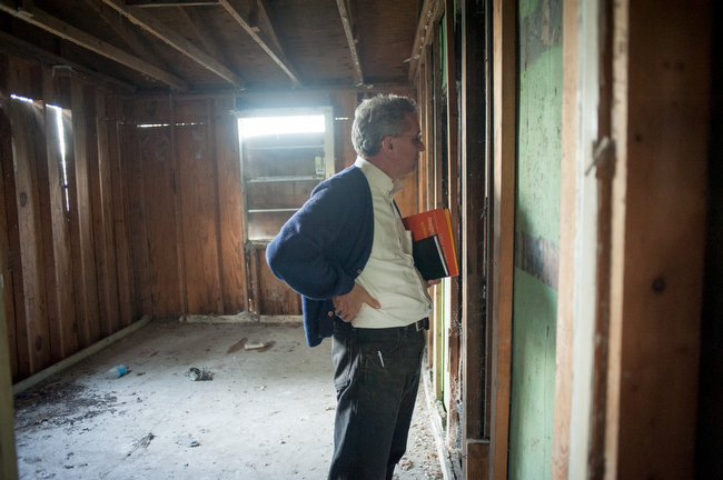December 8, 2015 - Mark TK, tours the old office of the Creosote Plant at Turkey Creek, Mississippi. Photo by Susana Raab/Anacostia Community Museum/Smithsonian Institution