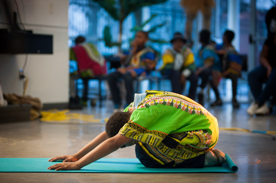 February 29, 2016 - Members of the Anacostia Community Museum Academy during a yoga demonstration at a Black History Month event at Savoy Elementary in SE Washington, DC. Susana Raab/Anacostia Community Museum/Smithsonian Institution