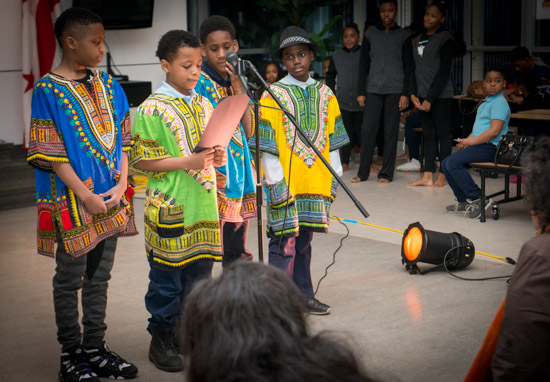 February 29, 2016 - Members of the Anacostia Community Museum Academy recite poetry during a performance in a Black History Month event at Savoy Elementary in SE Washington, DC. Susana Raab/Anacostia Community Museum/Smithsonian Institution