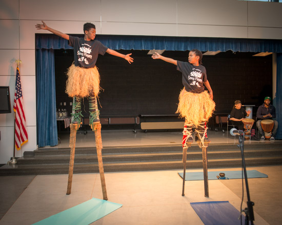 February 29, 2016 - Members of the Anacostia Community Museum Academy perform on stilts during a Black History Month event at Savoy Elementary in SE Washington, DC. Susana Raab/Anacostia Community Museum/Smithsonian Institution