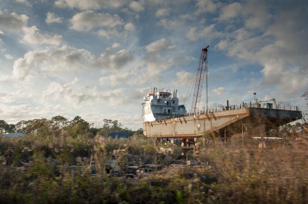 December 12, 2015 - Coden, Alabama - Paul Nelson gives a tour of Coden and Bayou La Batre, Alabama which was devastated by both Hurricane Katrina and the BP oil spill in the Gulf of Mexico. Susana Raab/Anacostia Community Museum/Smithsonian Institution