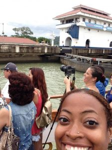 Susana and me transiting the Panama Canal in August 2014 , documenting 100 years of the Panama Canal