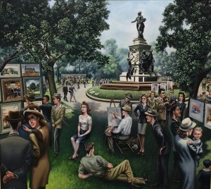 """Outdoor Art Fair"" by John Robinson, oil on canvas, 1946."