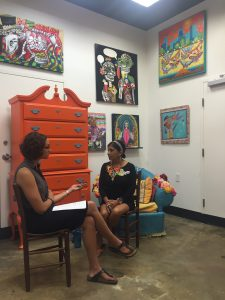 Elena interviewing Rosalia for an Artist Speak out component of Gateways