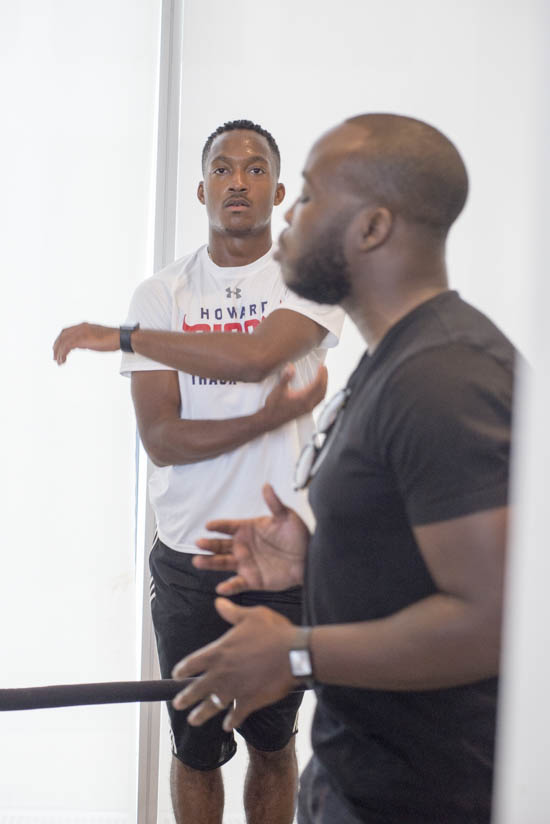 September 14, 2016 - A Howard University track athlete is part of the performance of artist Theaster Gates and his associates the Black Monks of Mississippi who presented at the Hirshhorn Museum in advance of Gates' presentation at the museum later that night in honor of the opening of the new Museum of African American History and Culture. Susana Raab/Anacostia Community Museum/Smithsonian Institution