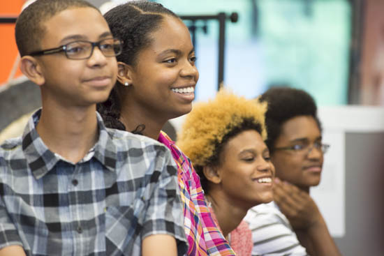 September 14, 2016 - Local students listen to artist Theaster Gates talk about his work. He and his associates the Black Monks of Mississippi performed at the Hirshhorn Museum in advance of Gates' presentation at the museum later that night in honor of the opening of the new Museum of African American History and Culture. Susana Raab/Anacostia Community Museum/Smithsonian Institution