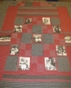 Quilt with photographic patches