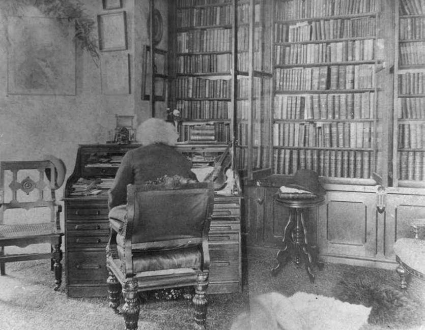 Douglass in his library
